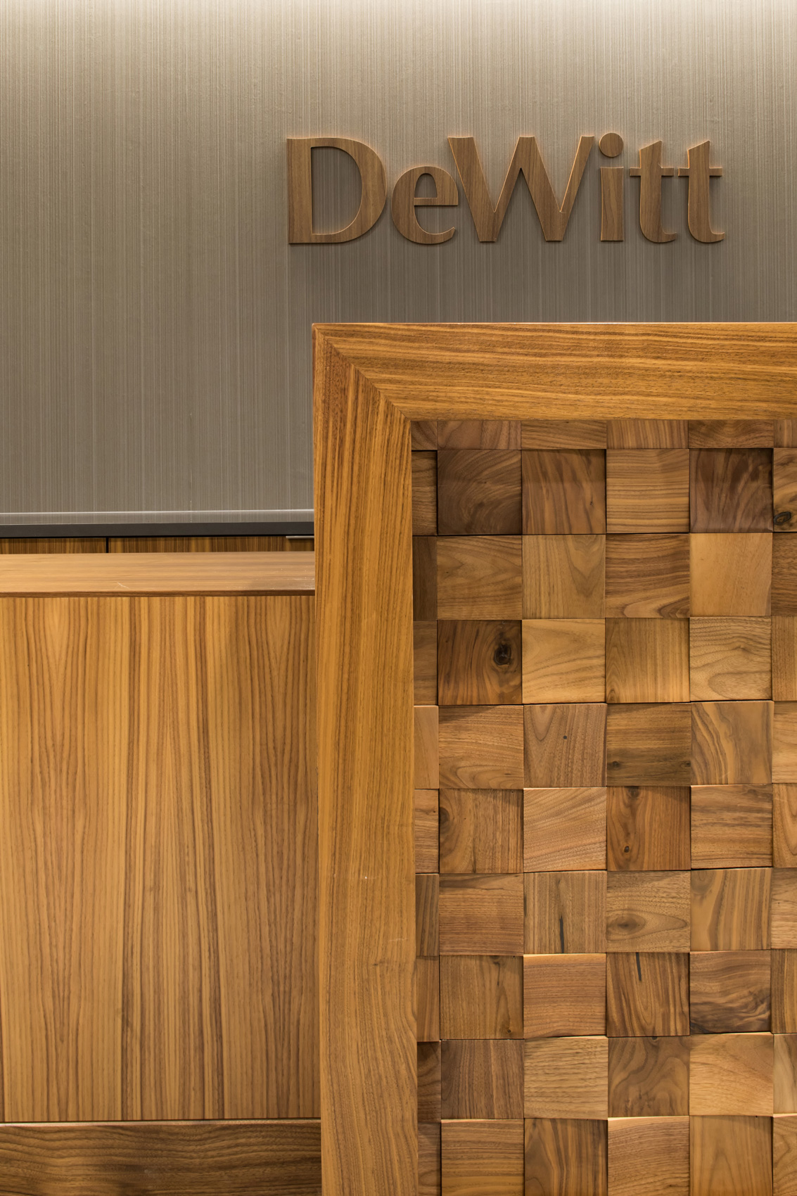 Interior design includes elegant woodwork detail at law office